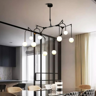 8/9/12 Lights Willow Branch Chandelier Modern Metal Hanging Lamp in Black/Gold for Living Room