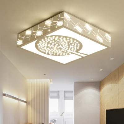 Acrylic Crystal Tree Flush Mount Light Living Room Creative LED Ceiling Light with White Lighting