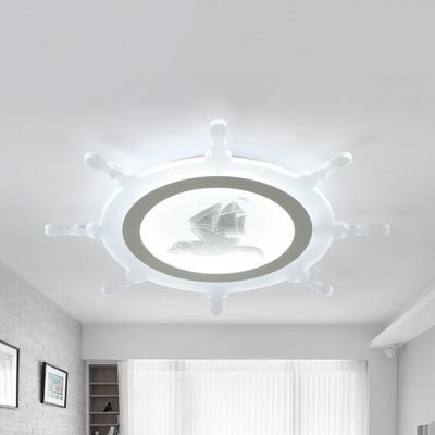 Acrylic Rudder Flush Ceiling Light Nautical Style Third Gear/Warm/White LED Ceiling Lamp for Boys Bedroom