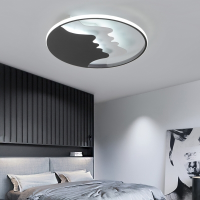 Adult Bedroom Face LED Ceiling Mount Light Metal Modern Style Warm/White/Stepless Dimming Ceiling Lamp