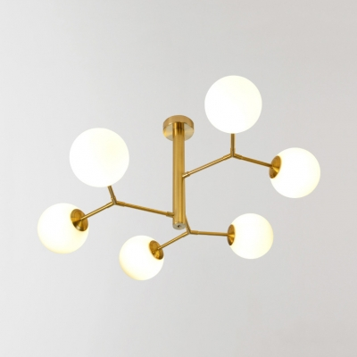 Black/Gold Twig Shaped Chandelier with Orb Shade Contemporary Metal Suspension Light for Study Room
