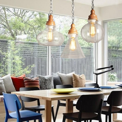 Clear Glass Urn Ceiling Pendant Restaurant Hotel 1 Light Industrial Pendant Light