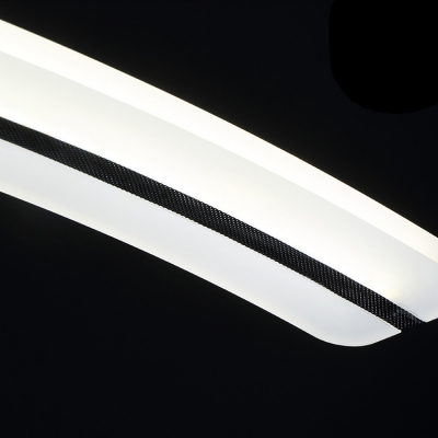Curved Restaurant Linear Suspension Light Acrylic Slim LED Hanging Light in Neutral/Warm/White
