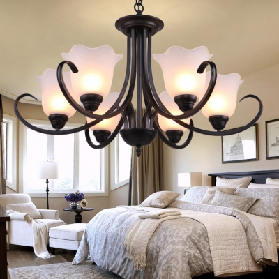 Frosted Glass Flower Chandelier Bedroom 3/6/8 Lights Traditional
