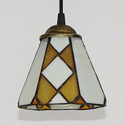 Glass Conical Shade Pendant Light 1 Light Vintage Style Ceiling Lamp in Yellow for Cafe