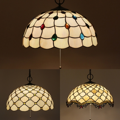 Glass Lattice Bowl Pendant Light with Beads Cafe 16 Inch Antique Style Pendant Lamp with Pull Chain HL533152 фото