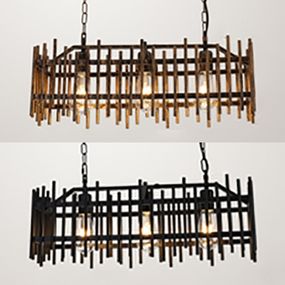 Metal Fence Shape Island Light 3 Lights Industrial Island Lamp in Black/Rust Finish for Dining Room