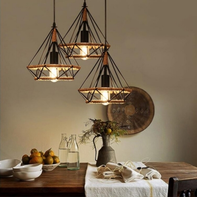 Industrial Diamond Wire Frame Pendant Light Manila Rope 3 Heads Black Ceiling Pendant for Dining Table