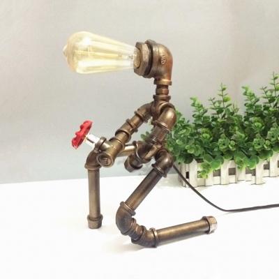 Industrial Robot Table Light with Open Bulb Metal 1 Light Bronze Desk Lamp for Kid Bedroom
