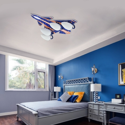 Kid Bedroom Airplane Semi Ceiling Mount Light Wood Creative Blue/Red LED Ceiling Light