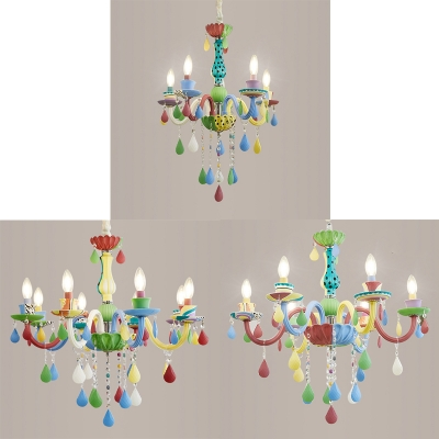 Lovely Candle Pendant Light with Crystal 5/6/8 Lights Glass Colorful Chandelier for Kid Bedroom