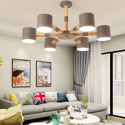 Metal Cylinder Ceiling Light 6 Lights Contemporary Chandelier in Black/White/Gray for Adult Kid Bedroom