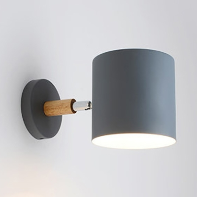 Metal Cylinder Rotatable Wall Sconce l Light Contemporary Macaron Color Sconce Light for Adult Kids Bedroom