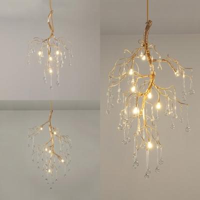 Twig Pendant Lamp With Teardrop Crystal