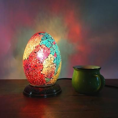 Moroccan Mosaic Egg Table Light Stained Glass One Light Table Lamp for Boys Girls Bedroom