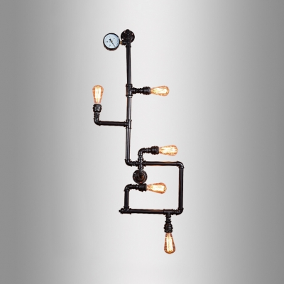 Retro Loft Bare Blue Wall Light Metal 5 Heads Black Wall Lamp with Water Pipe for Bar Cafe