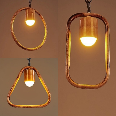 Rustic Style Hanging Light Circle/Rectangle/Triangle 1 Light Wood Ceiling Pendant for Cafe
