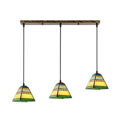Rustic Style Multi-Color Pendant Light Craftsman 3 Lights Glass Hanging Light for Cafe Bar