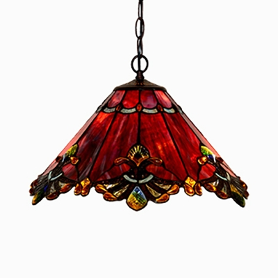 Stained Glass Cone Pendant Light 2 Lights Tiffany Antique Ceiling Lamp for Study Room