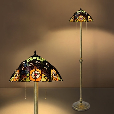 Stained Glass Floral Floor Lamp Bedroom Villa 2 Lights Tiffany Vintage Standing Light