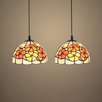 Stained Glass Pendant Light with Flower/Leaf/Rose 2 Lights Rustic Style Hang Light for Foyer