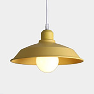 Study Room Barn Pendant Light Metal 1 Light Nordic Style Macaron Colored Suspension Light