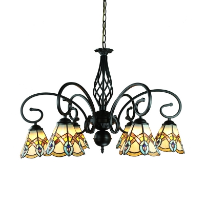 Tiffany Style Antique Chandelier 6/8 Lights Stained Glass Suspension Light for Living Room