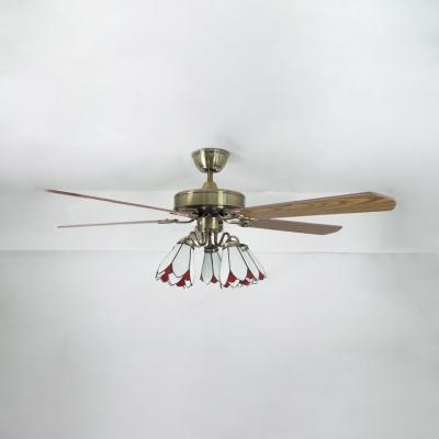 Vintage Cone Led Semi Flush Ceiling Light 3 Lights 52 Inch Fan