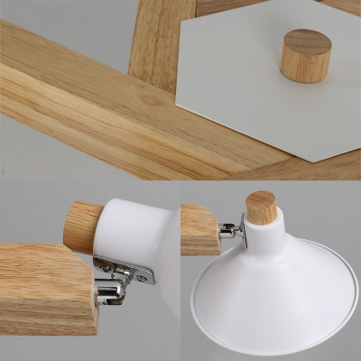 Wood Cone/Dome Ceiling Light 6 Lights Modern Semi Flush Light with Adjustable Angle for Living Room
