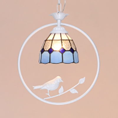 1 Light Bird Ceiling Lamp Tiffany Contemporary Metal Hanging Light in Dark Blue/Sky Blue/White for Bedroom