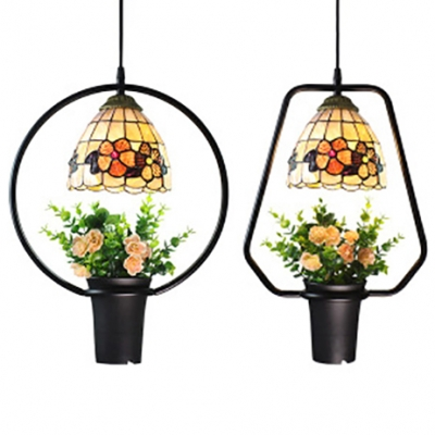 1 Light Bloom Hanging Light Tiffany Rustic Stained Glass Ceiling Light with Pot for Restaurant