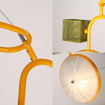 2 Lights Cartoon Bicycle Pendant Light Creative Metal Hanging Light for Girl Boy Bedroom