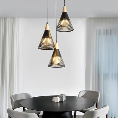 3 Lights Cone Pendant Light Nordic Style Metal Hanging Lamp In