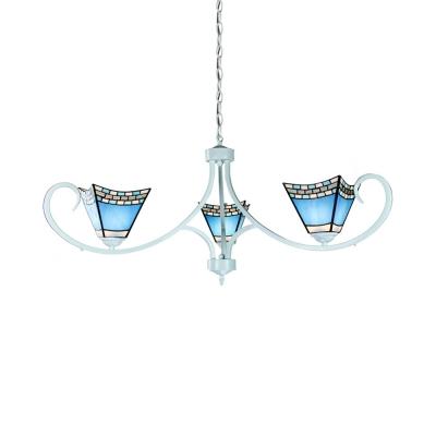 3 Lights Craftsman Chandelier Mediterranean Style Glass Suspension Light in Blue for Bathroom