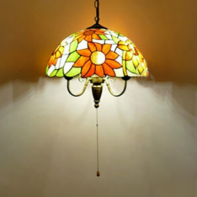 3 Lights Flower/Grape Suspension Light Rustic Stained Glass Pendant Lamp with Pull Chain for Bedroom