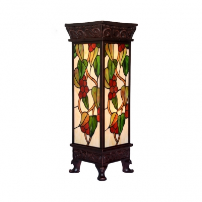 Antique Rectangle Floor Lamp with Grape Stained Glass 2 Lights Standing Light for Living Room
