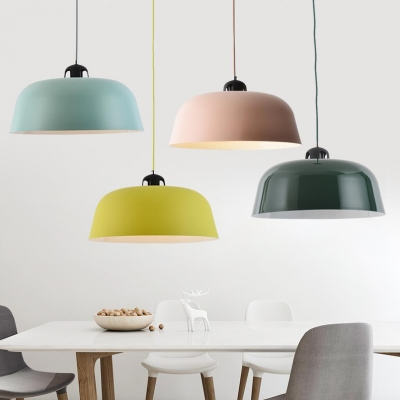 Nordic Candy Colored Pendant Light 1 Light Barn Shade Metal Suspension Light for Child Bedroom