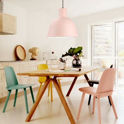 Modern Nordic Dome Pendant Light Metal One Light Green/Pink/Yellow Hanging Lamp for Dining Table