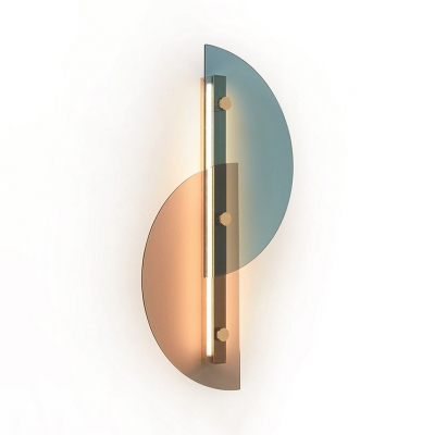 Modern Style Linear Wall Light with Half-Circle Shade Glass Wall Lamp in Warm/White for Bedroom