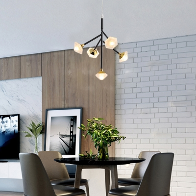 Modern Led 5 Lights Chandeliers Acrylic Shade Integrated Led Hanging Light Fixtures