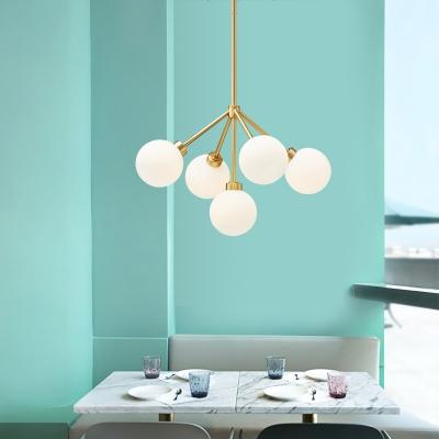 5 Light Globe Chandelier, White Glass Shade Contemporary Gold Finish Ceiling Light for Bedroom