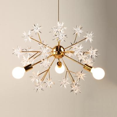 Contemporary Sputnik 3 Lights Chandelier, Acrylic Shade LED Lighting for Bedroom