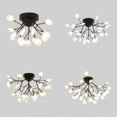 Black Twig LED Semi Flush Ceiling Light 15/27/36/45 Bulbs Modern Metal Ceiling Fixture for Bedroom