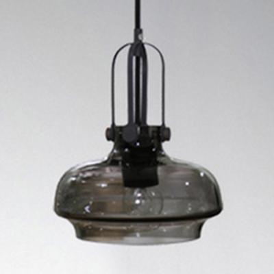 Contemporary Clear Glass Pendant Light Black Finish Mini Pendant Round Shade
