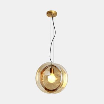 Amber/Clear Glass Drum Ceiling Pendant Child Bedroom 1 Light Modern Stylish Hanging Light