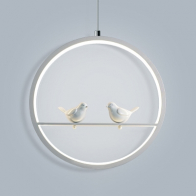 Nordic Stylish Ring Hanging Light with Bird Acrylic White Pendant Light with Warm/White Lighting for Bedroom