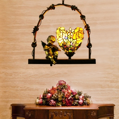 Aged Brass Angel Ceiling Light 1 Light Flower Shade Antique Style Glass Pendant Light for Balcony