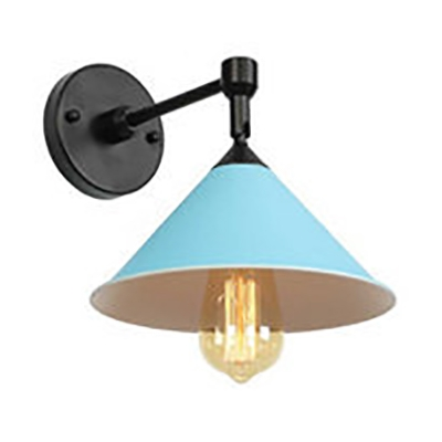 Bedroom Corridor Cone Wall Sconce Metal 1 Light Nordic Style Candy Colored Wall Light