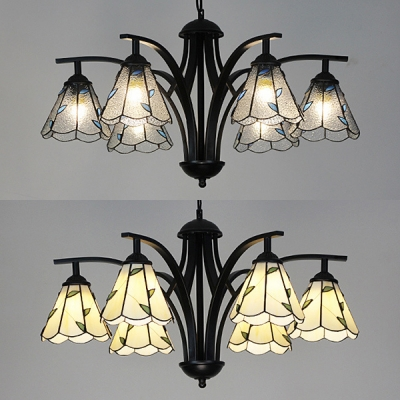 Cone Dining Room Chandelier Beige Clear Gl 6 Lights Tiffany Style