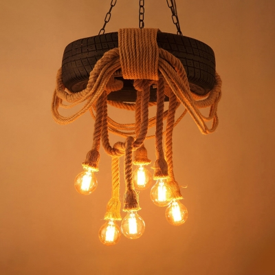 Creative Beige Hanging Light Orb Bulb 6 Lights Rope Chandelier with Wagon Wheel for Cafe